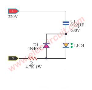 Simple AC mains voltage indicator circuit with LED | ElecCircuit