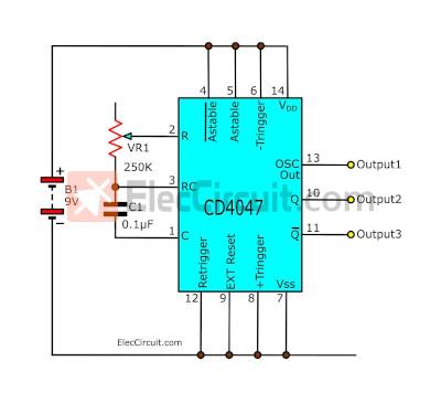 Simple Astable Multivibrator Circuit Using Cd Cmos