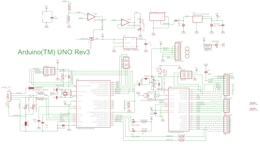 Arduino Uno Schematic (Colour) | Embedded Electronics Blog on