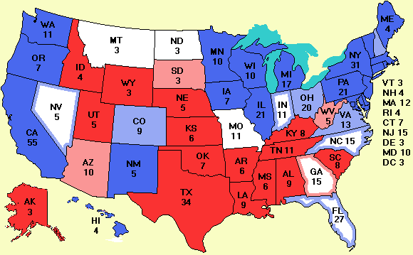 Electoral vote as of October 19, 2008