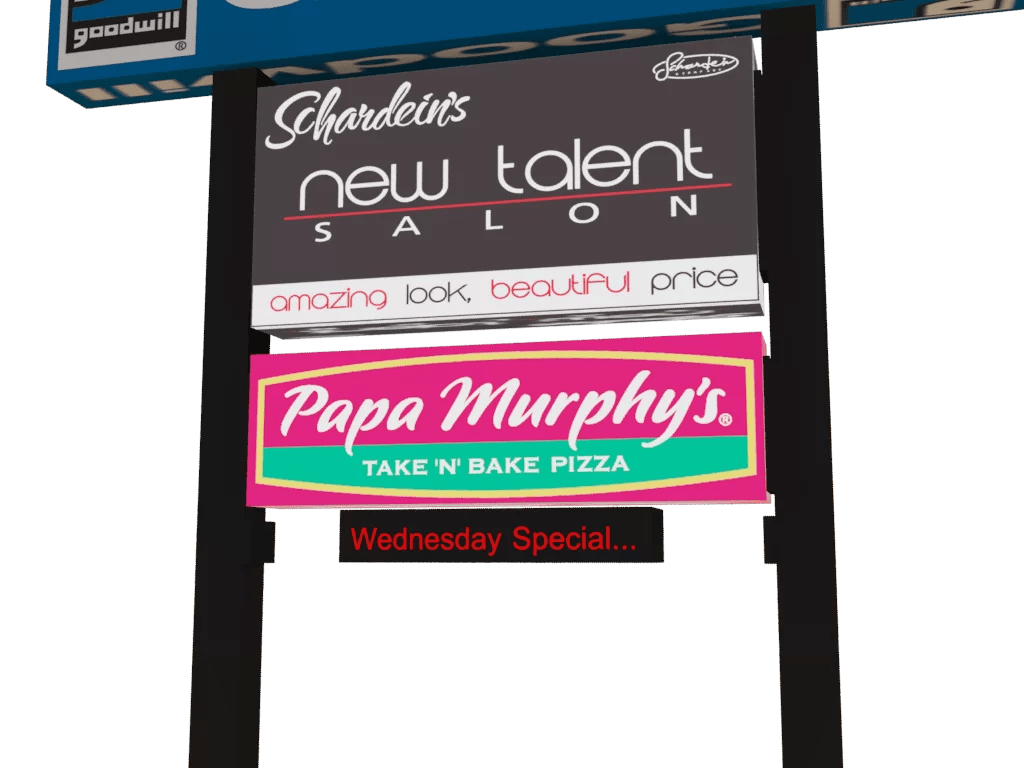 3D rendering of new signs.