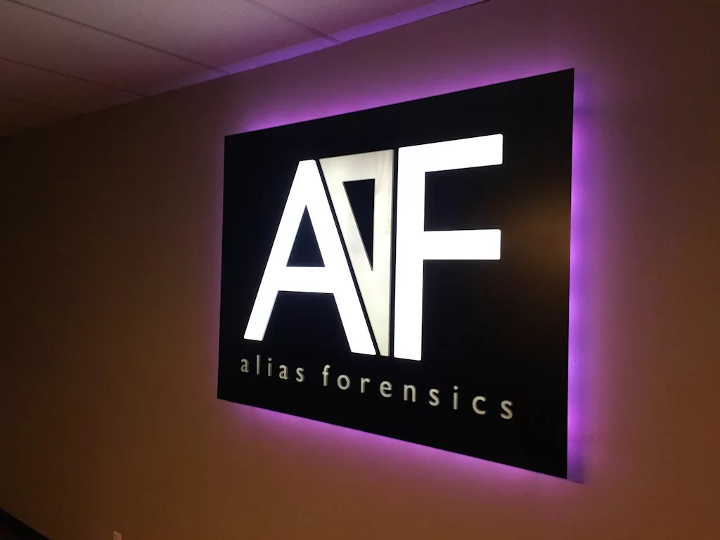 Custom interior sign and design for Alias Forensics!