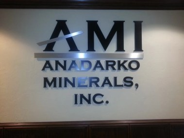 Anadarko Minerals interior wall sign from Electremedia.