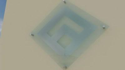 Etched acrylic diamond.