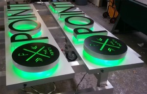 Photo of reverse illuminated channel letters.