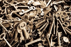 Photograph of a pile of old keys.