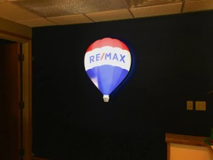 Picture of illuminated balloon for Remax in reception area lobby.