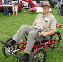 The SpinCycle is a recumbent power-assist trike by RunAbout Cycles.
