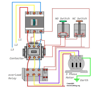 DOL Starter Wiring Diagram For 3 Phase Motor Controlling