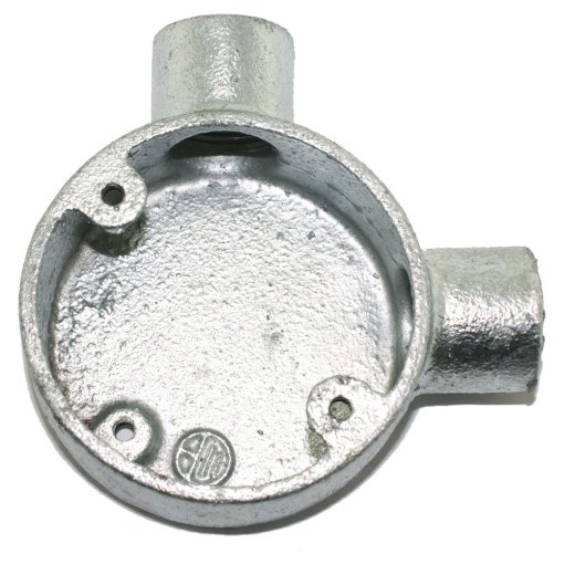 Angle Metal Conduit Box 20mm Galvanised Front