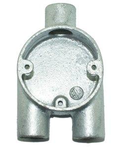 Y (3 Way) Metal Conduit Box 20mm Galvanised Front