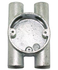 H (4 Way) Metal Conduit Box 20mm Galvanised Front