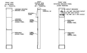 100 Amp RV Electrical Service Pedestal – Unmetered