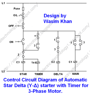 Star Delta Starter  (YΔ) Starter Power, Control and