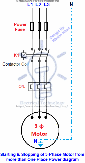 starting  stopping of 3phase motor from more than one