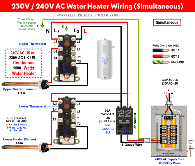 how to wire 240v  230v simultaneous water heater thermostat