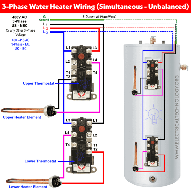 how to wire 3phase simultaneous water heater thermostat