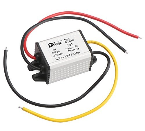 drok waterproof auto vehicle voltage reducer dc-dc buck converter 12v to  3 3v step-down voltage regulator transformer 3a/10w power supply module for  car