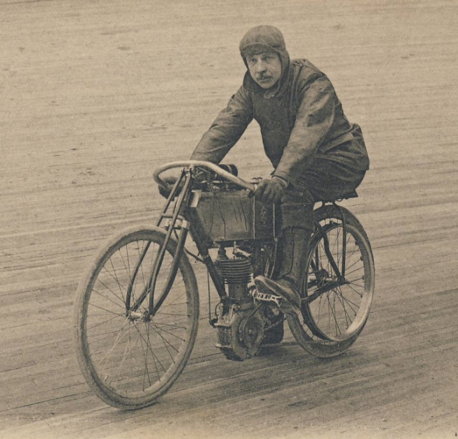 A boardtrack motorcycle racer from France in 1917.