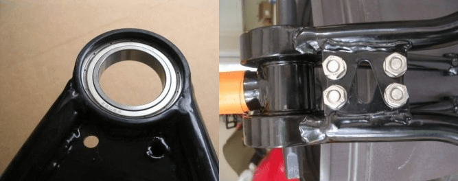 Here's a close-up of the concentric BB, and how the two halves of the swingarm are now connected, so the bearing shells slide-on.