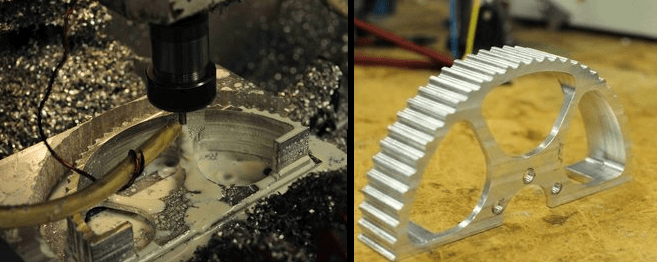 The white liquid from the 3D CNC milling machine cools and lubricates the cutting bit.