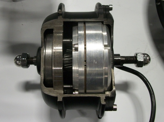 The 250W MXUS geared hub with helical gears.