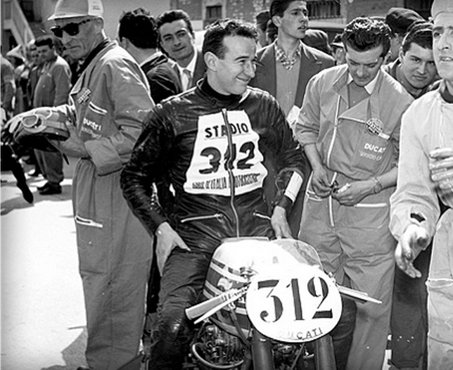 A young and excited Leopoldo Tartarini, racing a Ducati 175