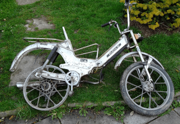 Here is a custom-built ebike made from a moped frame
