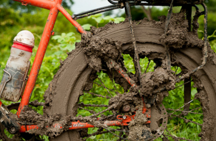 derailleurs can fail from a crash bending it, or by getting packed with mud or snow.