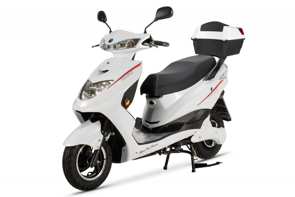 Electric Motor Scooter >> Falcon Electric Moped White