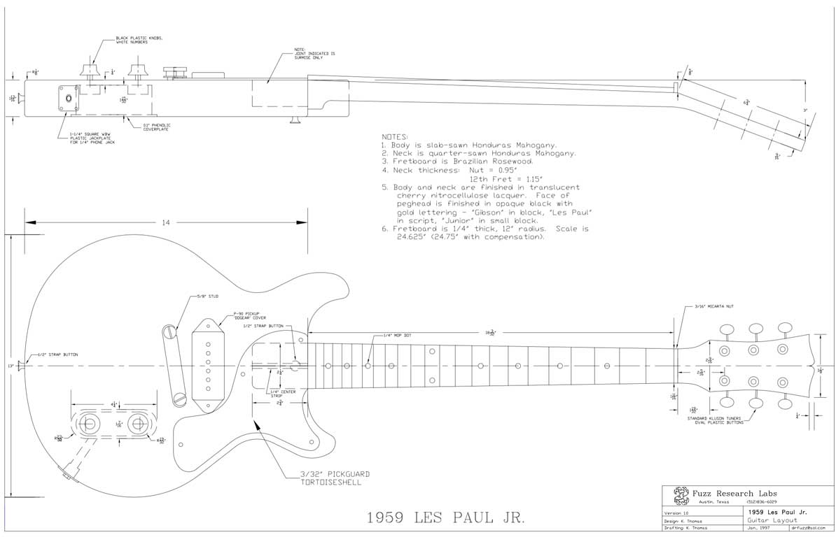 Gibson Les Paul Guitar Templates