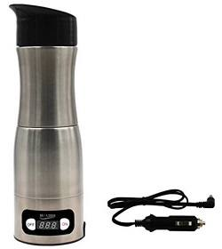Walshen Car Based Coffee Maker Ultra Portable Manual Coffee Grinder and Portable Coffee Brewer with Vacuum Sealed Tumbler Cup (silver)