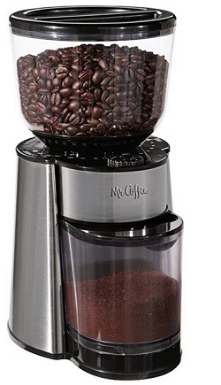 Mr. Coffee Automatic Burr Mill Grinder with 18 Custom Grinds, Silver, BMH23-RB-1