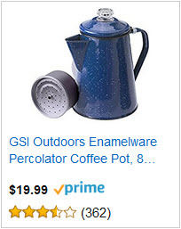 GSI Outdoors Enamelware Percolator Coffee Pot, 8-Cup, Blue