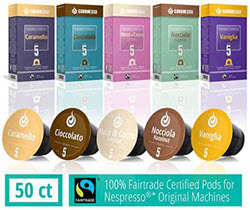 50 Fairtrade Flavored Coffee Capsules