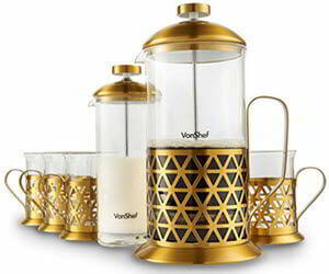 VonShef French Press Coffee Cafetiere Set with Milk Frother and 4 Serving Cups