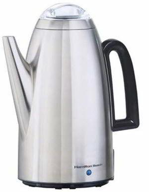 Hamilton Beach Brands 40614 Coffee Percolator, Stainless Steel, 12-Cup