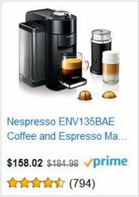 Nespresso ENV135BAE Coffee and Espresso Machine Bundle with Aeroccino Milk Frother