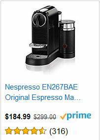 Nespresso EN267BAE Original Espresso Machine Bundle with Aeroccino Milk Frother by De'Longhi