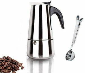 Espresso Coffee Maker Pot Stovetop Moka Coffee Pot Stainless Steel Latte Percolator with Bonus Scoop