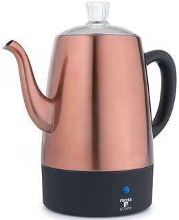 Moss & Stone Electric Coffee Percolator Copper Body with Stainless Steel Lids Coffee Maker