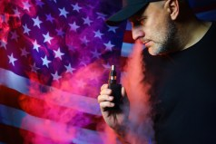 An American with an electronic cigarette. Vaped. American Vaper.