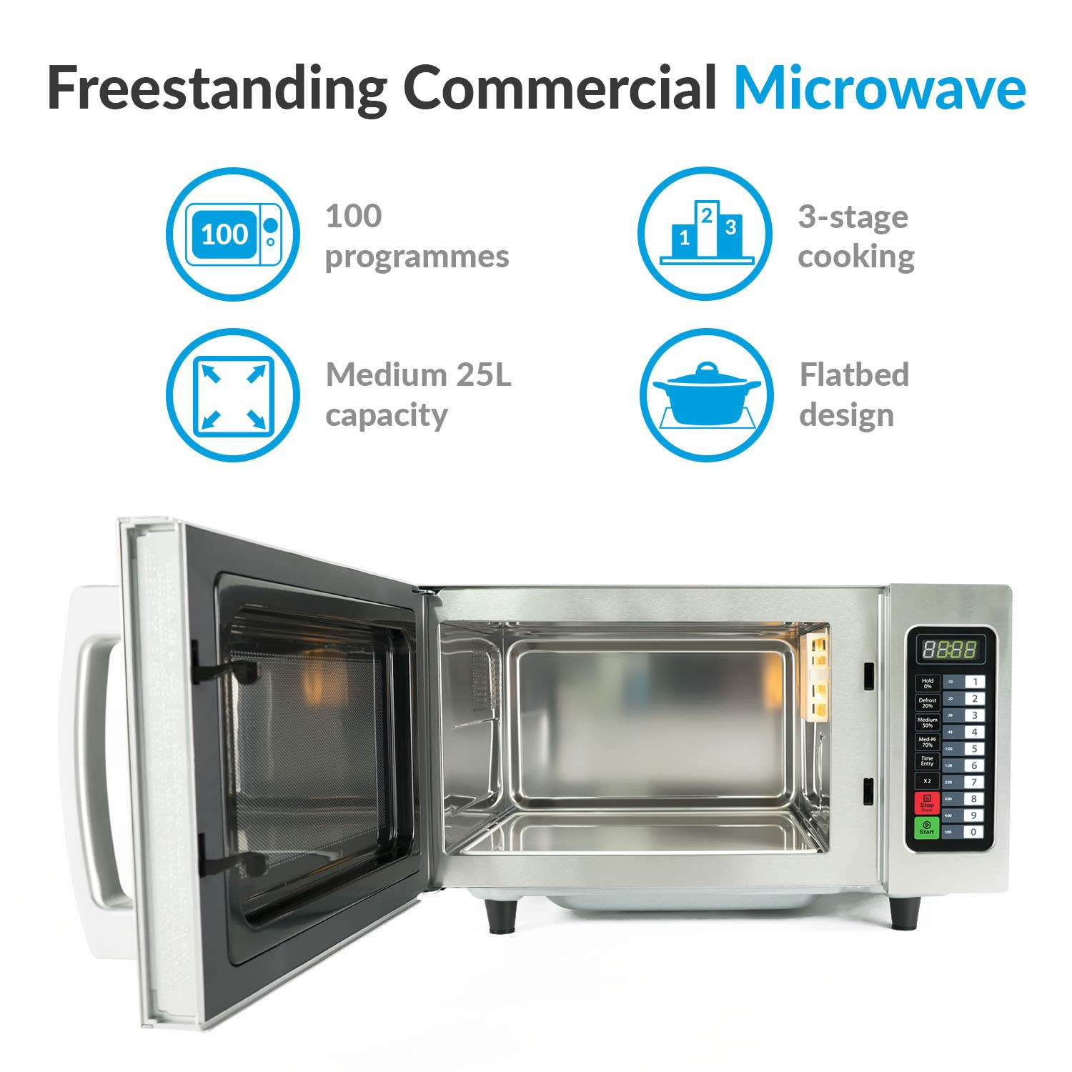 grade a1 electriq 1000w 25l programmable commercial microwave for commercial kitchens catering stainless steel