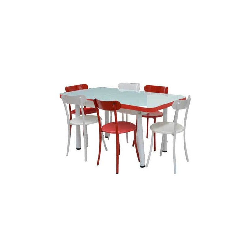 pack salle a manger table extensible tulipe 6 chaises spot