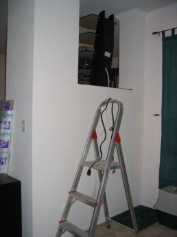 entertainment rack, back side