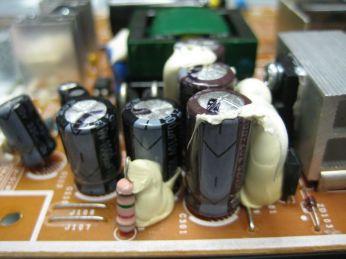 closeup of capacitors