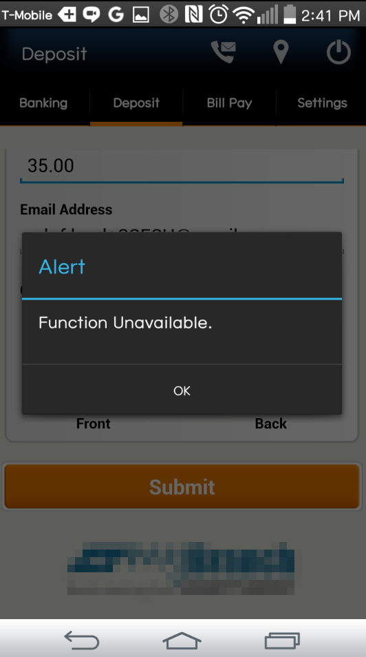Mobile deposit error
