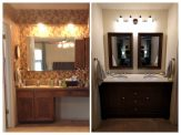 Before and after. Removed wallpaper, soffit, and medicine cabinet.