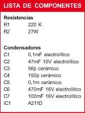 Amplificador baja frecuencia componentes