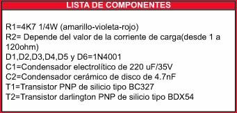 Cargador electronico componentes